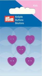 Prym 2-Hole Kids Heart Buttons