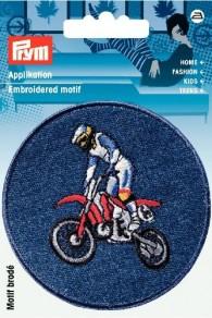 Prym Embroidered Denim Motocross Motif