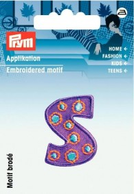 Prym Embroidered Letter 'S' Motif