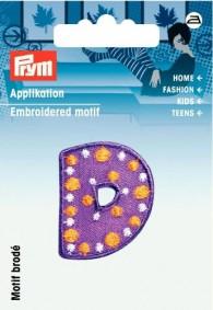 Prym Embroidered Letter 'D' Motif