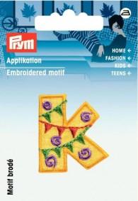Prym Embroidered Letter 'K' Motif