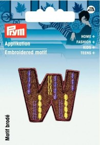 Prym Embroidered Letter 'W' Motif