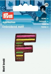 Prym Embroidered Letter 'F' Motif