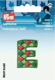 Prym Embroidered Letter 'E' Motif