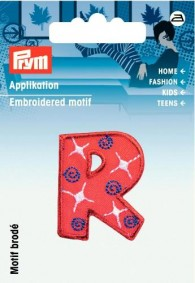 Prym Embroidered Letter 'R' Motif
