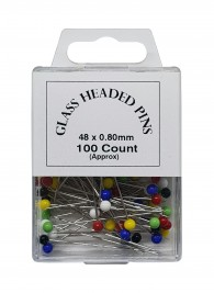 100 Glass Headed Pins