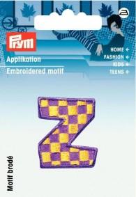 Prym Embroidered Letter 'Z' Motif