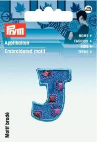 Prym Embroidered Letter 'J' Motif