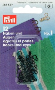 Prym Size 1 Hooks and Eyes