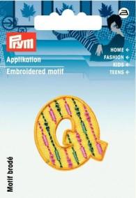 Prym Embroidered Letter 'Q' Motif