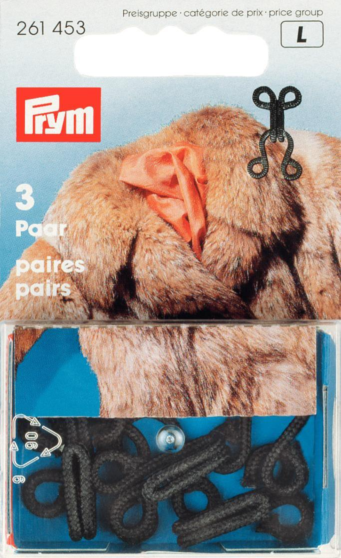Prym Black Fur Hook and Eyes