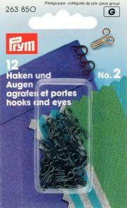Prym Size 2 Hooks and Eyes