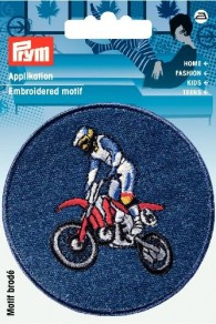 Prym Embroidered Denim Motocross Motif