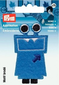 Prym Embroidered Blue Monster Motif