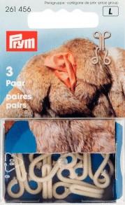 Prym Beige Fur Hooks and Eyes